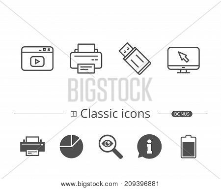Printer, USB flash drive and Monitor line icons. Browser window sign. Computer devices. Information speech bubble sign. And more signs. Editable stroke. Vector