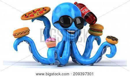 Fun octopus - 3D Illustration