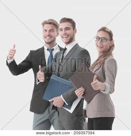 Group of happy and successful business people looking confident