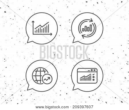 Speech bubbles with signs. Analysis line icons. Chart, Report and Global Statistics signs. Browser window data and Presentation symbols. Grunge background. Editable stroke. Vector
