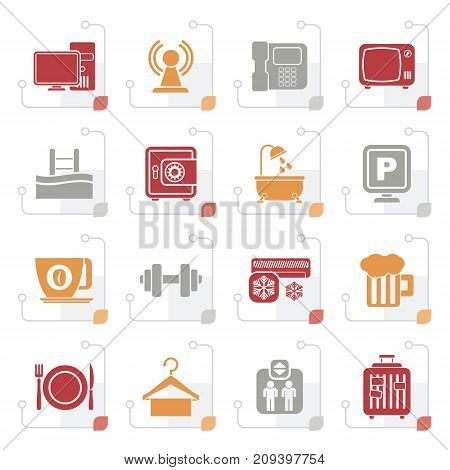 Stylized Hotel Amenities Services Icons - vector icon set