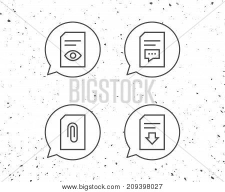 Speech bubbles with signs. Document, Comment and Download line icons. Document Management, Attachment and Read file signs. Grunge background. Editable stroke. Vector