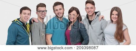 Happy young group of people standing together
