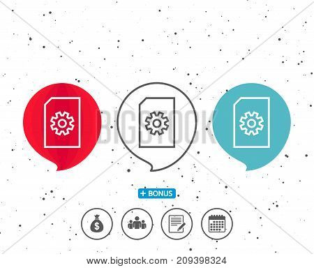 Speech bubbles with symbol. Document Management line icon. Information File with Cogwheel sign. Paper page concept symbol. Bonus with different classic signs. Random circles background. Vector