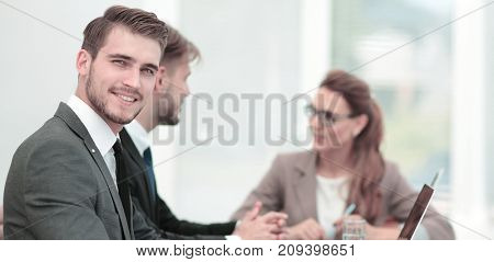 Working process, business  team working in modern office