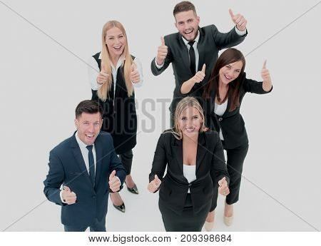 Smiling Happy Businesspeople Having Meeting In Office. Showing t