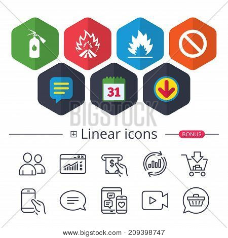 Calendar, Speech bubble and Download signs. Fire flame icons. Fire extinguisher sign. Prohibition stop symbol. Chat, Report graph line icons. More linear signs. Editable stroke. Vector