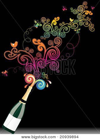 abstract black background with wine bottle and spiral pattern