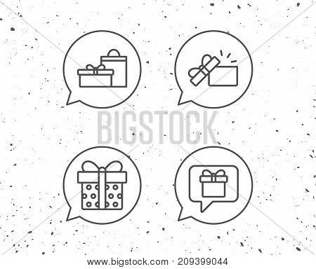 Speech bubbles with signs. Gifts line icons. Present and Speech bubble signs. Shopping bag symbol. Grunge background. Editable stroke. Vector