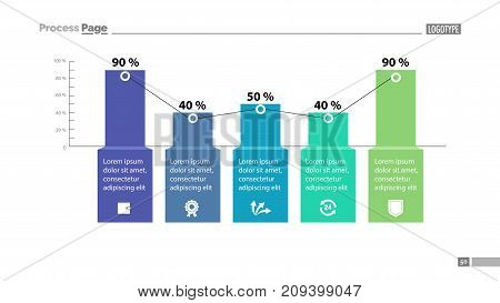 Percentage bar chart with five elements. Business data. Graph, background, design. Creative concept for infographic, template, presentation, performance, report. Can be used for topics like statistics.