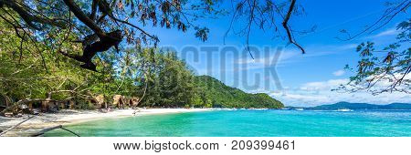 Panorama Of A Paradise Island In Thailand, White Sand And Clear Water