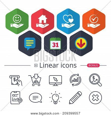 Calendar, Speech bubble and Download signs. Smile and hand icon. Heart and Tick or Check symbol. Palm holds house building sign. Chat, Report graph line icons. More linear signs. Editable stroke