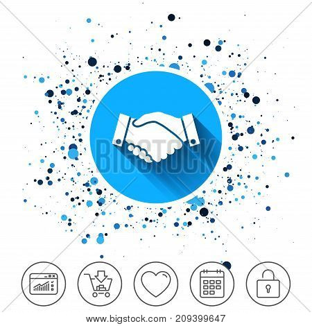 Button on circles background. Handshake sign icon. Successful business symbol. Calendar line icon. And more line signs. Random circles. Editable stroke. Vector
