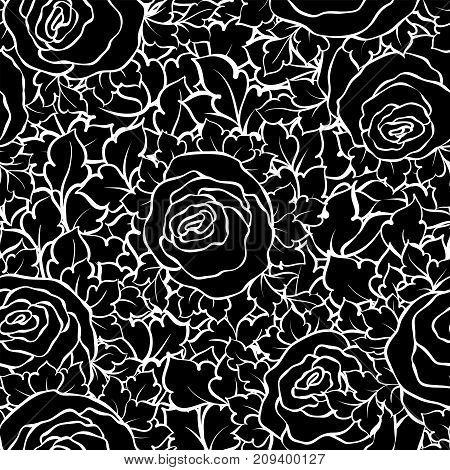 Floral Decorative Black And White Background With Cute Roses, Monochrome Seamless Pattern