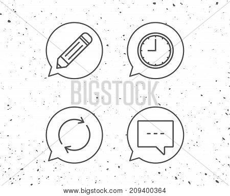 Speech bubbles with signs. Speech bubble, Edit and Clock line icons. Rotation sign. Grunge background. Editable stroke. Vector