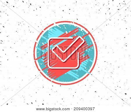 Grunge button with symbol. Check line icon. Approved Tick sign. Confirm, Done or Accept symbol. Random background. Vector