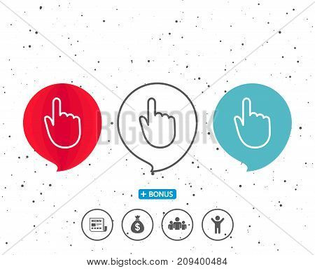 Speech bubbles with symbol. Hand Click line icon. Finger touch sign. Cursor pointer symbol. Bonus with different classic signs. Random circles background. Vector