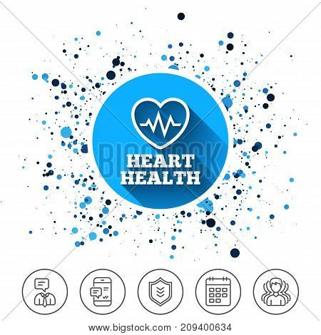 Button on circles background. Heartbeat sign icon. Heart health cardiogram check symbol. Calendar line icon. And more line signs. Random circles. Editable stroke. Vector