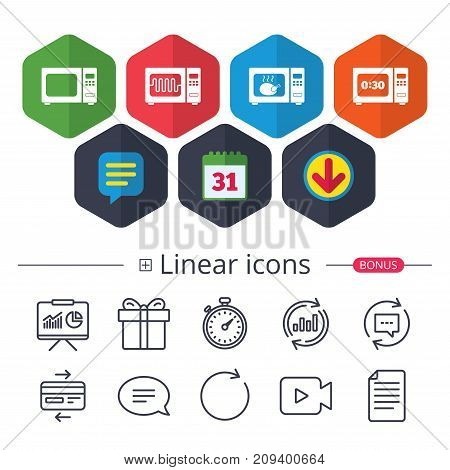 Calendar, Speech bubble and Download signs. Microwave oven icons. Cook in electric stove symbols. Grill chicken with timer signs. Chat, Report graph line icons. More linear signs. Editable stroke