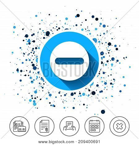 Button on circles background. Minus sign icon. Negative symbol. Zoom out. Calendar line icon. And more line signs. Random circles. Editable stroke. Vector