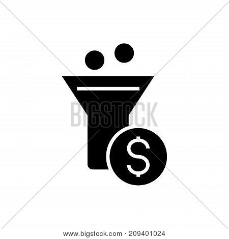 funnel profit - conversion funnel icon, illustration, vector sign on isolated background