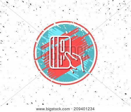 Grunge button with symbol. Credit card line icon. Hold Banking Payment card sign. ATM service symbol. Random background. Vector