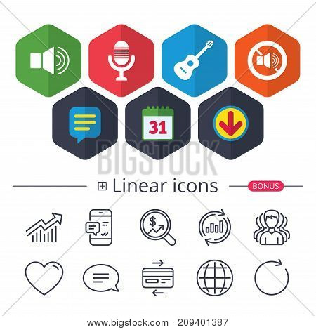 Calendar, Speech bubble and Download signs. Musical elements icons. Microphone and Sound speaker symbols. No Sound and acoustic guitar signs. Chat, Report graph line icons. More linear signs. Vector