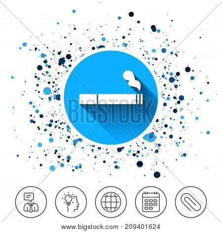 Button on circles background. Smoking sign icon. Cigarette symbol. Calendar line icon. And more line signs. Random circles. Editable stroke. Vector