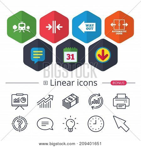 Calendar, Speech bubble and Download signs. Train railway icon. Overground transport. Automatic door symbol. Way out arrow sign. Chat, Report graph line icons. More linear signs. Editable stroke