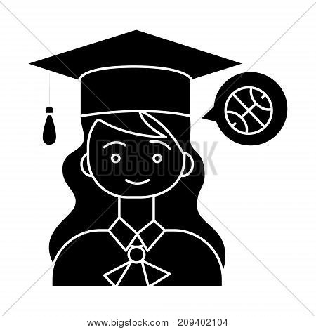graduation girl with hat icon, illustration, vector sign on isolated background