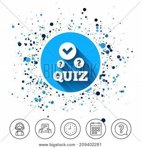Button on circles background. Quiz with check and question marks sign icon. Questions and answers game symbol. Calendar line icon. And more line signs. Random circles. Editable stroke. Vector