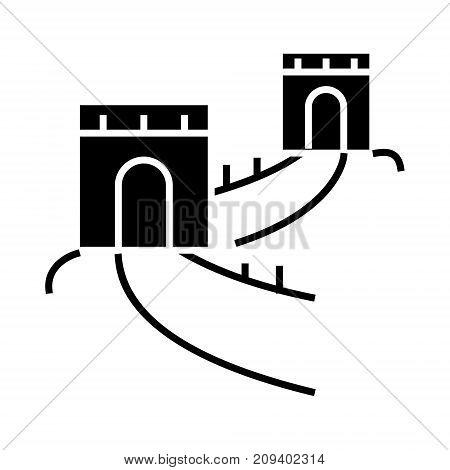great wall - china icon, illustration, vector sign on isolated background