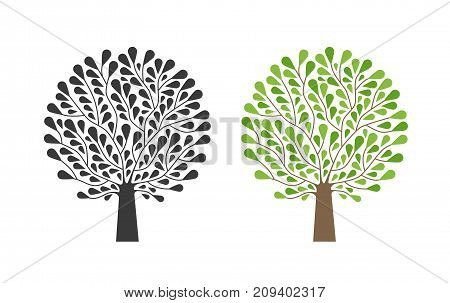 Ornamental tree, logo. Nature, garden, ecology, environment icon or symbol. Vector illustration isolated on white background