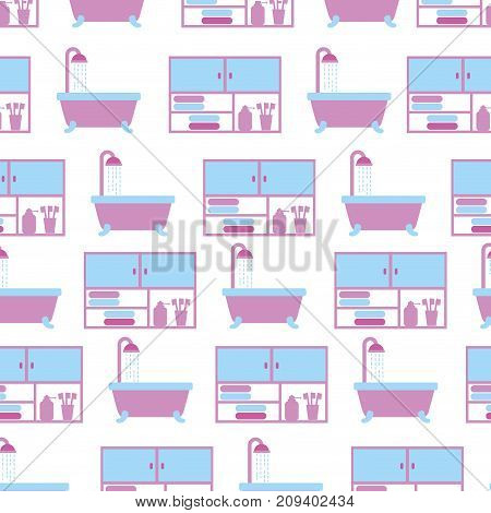 bathroom bathtub shower and furniture seamless pattern design vector illustration