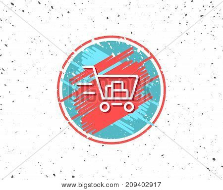 Grunge button with symbol. Delivery Service line icon. Shopping cart sign. Express Online buying. Supermarket basket symbol. Random background. Vector