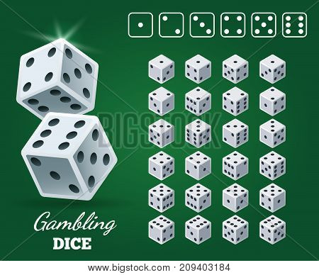 Gambling dice set on green background. White cubes with black pips on Casino game back, vector illustration