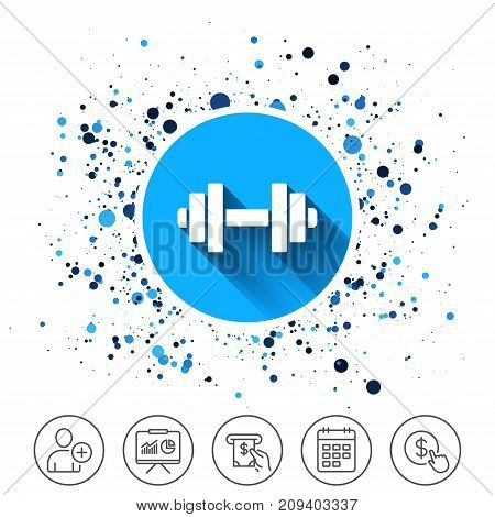 Button on circles background. Dumbbell sign icon. Fitness symbol. Calendar line icon. And more line signs. Random circles. Editable stroke. Vector