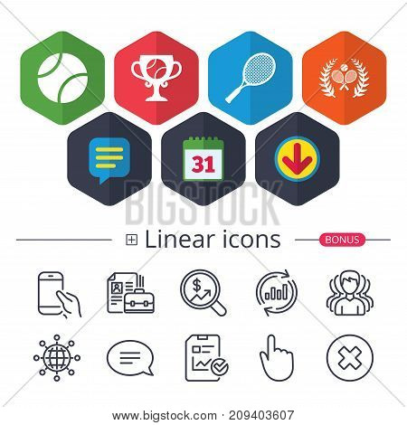Calendar, Speech bubble and Download signs. Tennis ball and rackets icons. Winner cup sign. Sport laurel wreath winner award symbol. Chat, Report graph line icons. More linear signs. Editable stroke