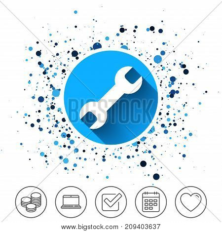 Button on circles background. Repair tool sign icon. Service symbol. Calendar line icon. And more line signs. Random circles. Editable stroke. Vector