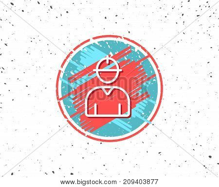 Grunge button with symbol. Worker line icon. Engineer Profile sign. Male Person silhouette symbol. Random background. Vector