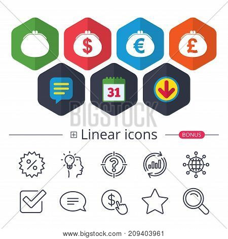 Calendar, Speech bubble and Download signs. Wallet with Dollar, Euro and Pounds currency icons. Cash bag signs. Retro wealth symbol. Chat, Report graph line icons. More linear signs. Editable stroke