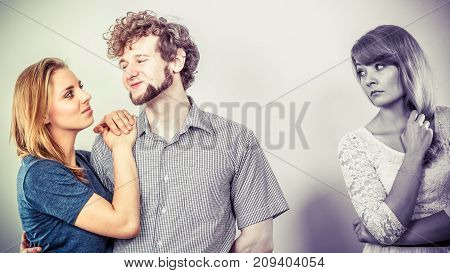 Jelous Woman With Happy Couple