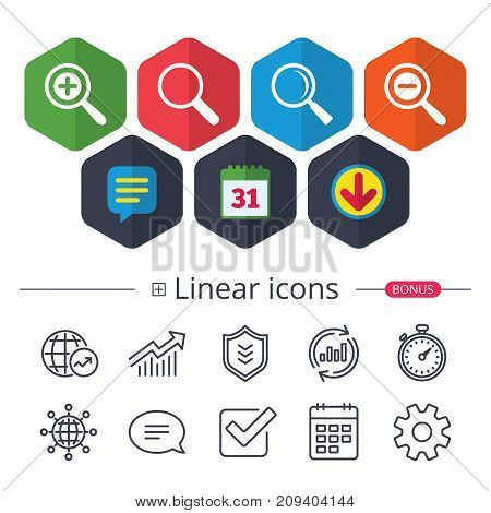 Calendar, Speech bubble and Download signs. Magnifier glass icons. Plus and minus zoom tool symbols. Search information signs. Chat, Report graph line icons. More linear signs. Editable stroke. Vector
