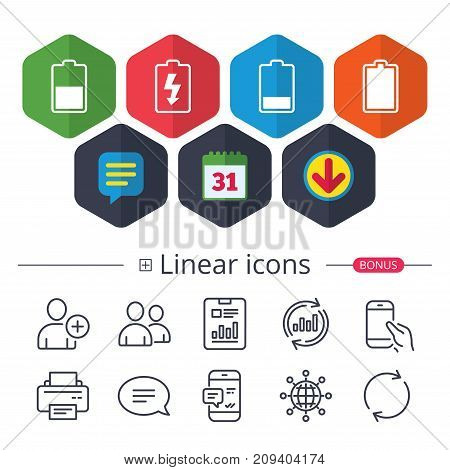 Calendar, Speech bubble and Download signs. Battery charging icons. Electricity signs symbols. Charge levels: full, half and low. Chat, Report graph line icons. More linear signs. Editable stroke