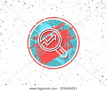 Grunge button with symbol. Chart line icon. Report graph or Sales growth sign in Magnifying glass. Analysis and Statistics data symbol. Random background. Vector
