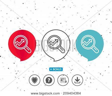 Speech bubbles with symbol. Chart line icon. Report graph or Sales growth sign in Magnifying glass. Analysis and Statistics data symbol. Bonus with different classic signs. Random circles background