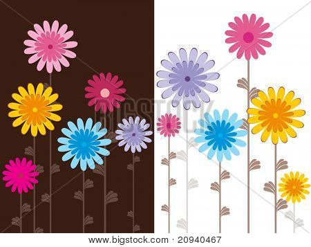 set of cards with colorful blossoms, vector illustration