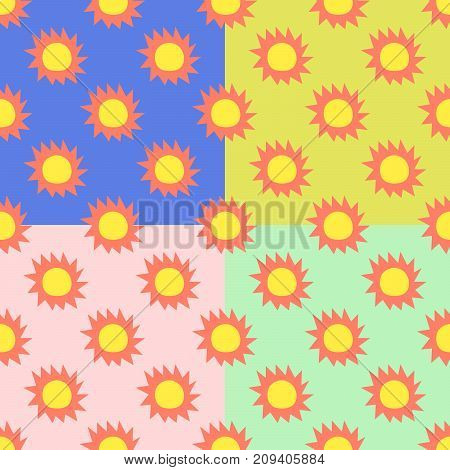 Seamless pattern set with sun on color background. Flat design Vector Illustration EPS 10