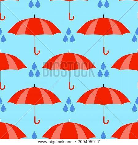 Red umbrellas seamless pattern isolated on blue background. Cute cartoon rain. Flat design Vector Illustration EPS