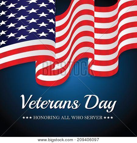 USA Flag Veterans Day. Vector Eps 10